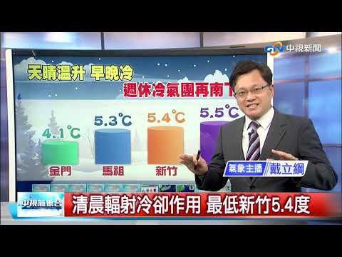 【立綱氣象報報】清晨輻射冷卻作用 最低新竹5.4度│中視晚間氣象 20210113