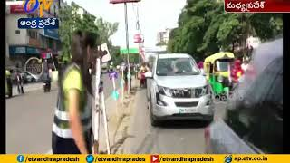 MBA student Shubha Jain sways her body to control traffic ..