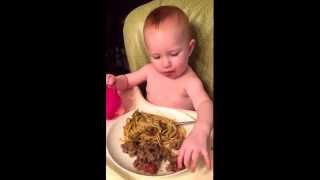 Baby Led Weaning: Spaghetti and Meatballs