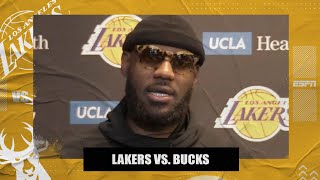LeBron on Giannis calling him the 'best in the world' and Lakers rebounding from loss to Warriors