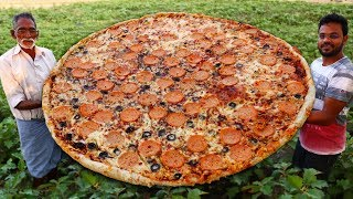 Pepperoni Pizza Recipe Without Oven | Biggest Italian Pizza Never Seen Before | Grandpa Kitchen
