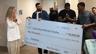 Drake Shocks Women's Shelter By Showing Up with Giant $50K Check