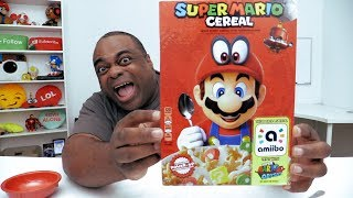 SUPER MARIO CEREAL Taste Test! [The box is an Amiibo!]