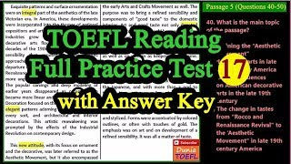TOEFL Reading Full Practice Test 17 with Answers