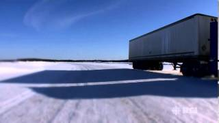Driving on the ice road in Canada's Northwest Territories