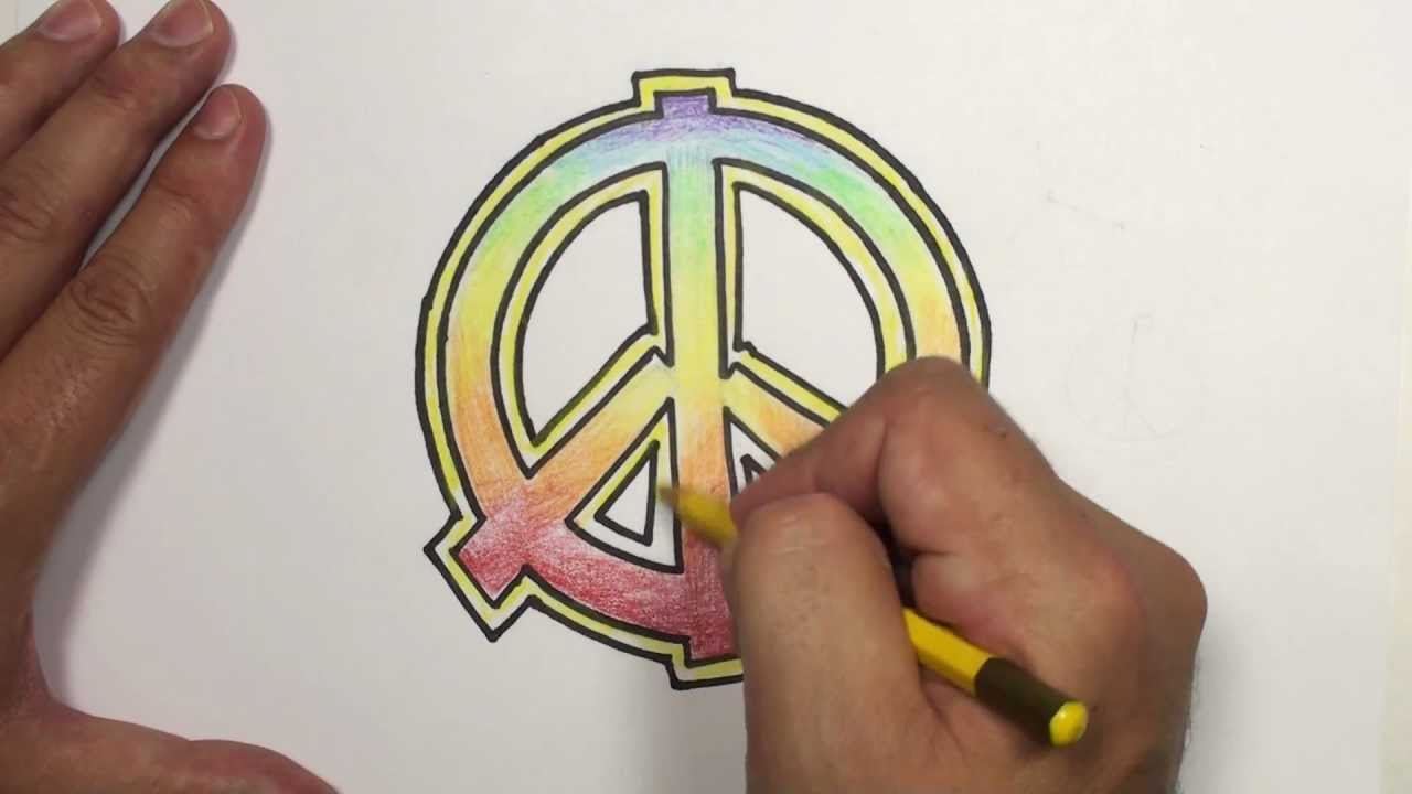 How To Draw A Peace Sign With Rainbow Colors