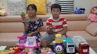Thùy Giang Chơi Trò Chơi Bán Hàng Đồ Chơi Cùng Bé Minh MN Toys