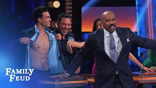 Focus on Ray's ABS... not his ANSWER!   Celebrity Family Feud