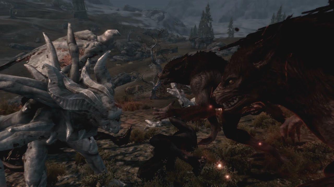 Skyrim Werewolf Vs Vampire Lord Fight