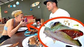 Toothy TRASH Fish Taste Test w/ Wife!!! -Catch n' Cook- Barracuda Ceviche!