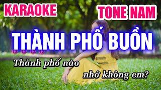 Karaoke Thành Phố Buồn Tone Nam Nhạc Sống | Mai Thảo Organ
