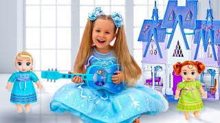 Diana Plays with Disney Frozen Toy Guitar and other Frozen toys