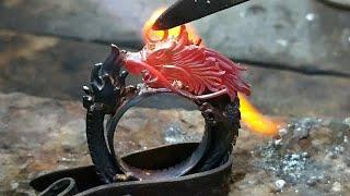belajar membuat perhiasan - cara membuat liontin batu akik ukir naga
