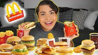 MUKBANG: MASSIVE MCDONALDS (eating show) BREAKFAST SAUSAGE MCMUFFIN + FRIES + HASH BROWN!