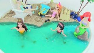 Làm Bãi Biển Đẹp Cho Nàng Tiên Cá Ariel, Elsa, Anna Bằng Chất Nhờn Ma Quái / How To Make Slime Beach