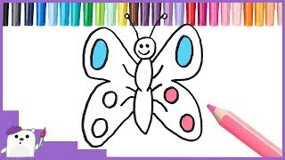 How to Color a Butterfly Coloring Pages for kids Best Learning Video for Kids SQUARE BEAR TOYS