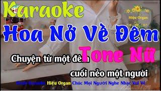 Karaoke 7979 Hoa Nở Về Đêm Nhạc Sống Tone Nữ || Hieu Organ Guitar 7979
