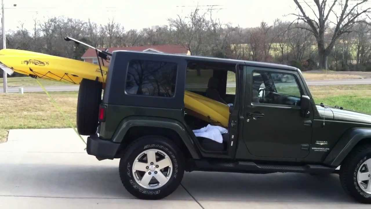 How To Fit Kayak In A Jeep Wrangler Unlimited 4 Door Youtube