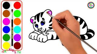 How To Draw baby tiger coloring and drawing Learn colors for Kids| HAT Kids TV