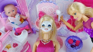 Baby doll House and hair shop Barbie Beauty toys play 아기인형 하우스 바비 미용실 장난감놀이 - 토이몽