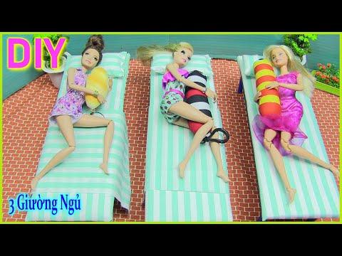 Hướng Dẫn Làm 3 Giường Ngủ Đẹp Cho Búp bê Barbie & Ken [chị bí đỏ] DIY doll bed