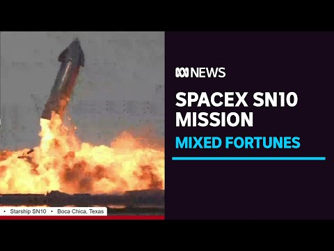 SpaceX Starship SN10 prototype successfully lands before exploding in flames | ABC News