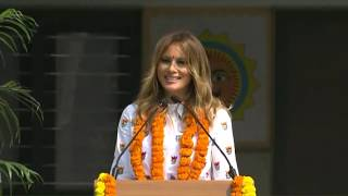 US First Lady MelaniaTrump Addresses at Hyderabad House, N..