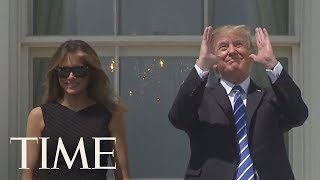 President Trump Looks At Eclipse Without Glasses With Melania And Barron From White House | TIME