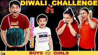DIWALI CHALLENGE Girls vs Boys #Funny #Family Green Crackers  Aayu and Pihu Show