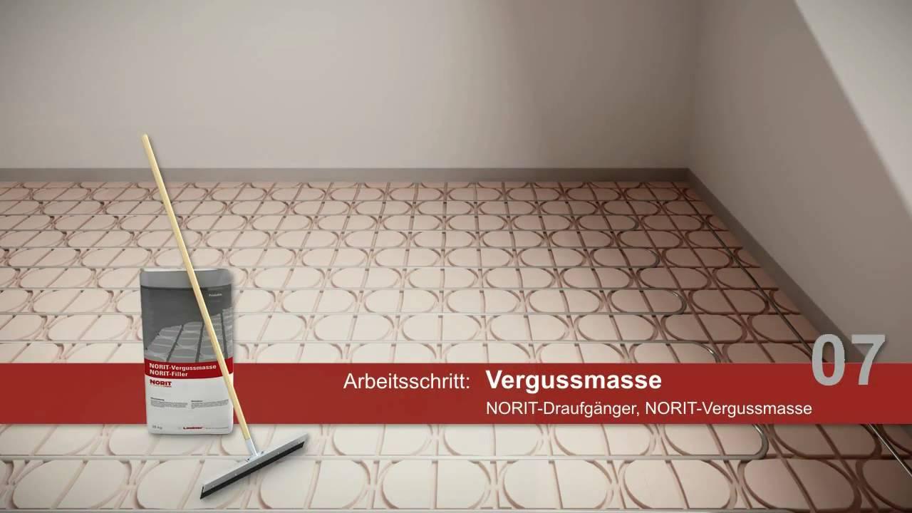 verlegung der norit fu bodenheizung niedrige aufbauh he 33 mm youtube. Black Bedroom Furniture Sets. Home Design Ideas