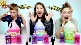 Twin Telepathy Giant Slime Challenge | SuperHero Kids Challenges