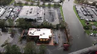Hurricane FLORENCE aftermath and river flooding by helicopter and drone
