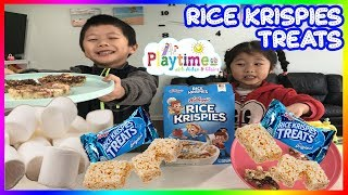 Kids Size Cooking - Homemade Rice Krispies Treats 🎈 Playtime w. Aiden & Claire