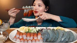 SUB)탱글오독 생새우 딱새우 회 먹방 🦐 쌓아놓고 먹을게요 리얼사운드 raw shrimp mukbang ASMR