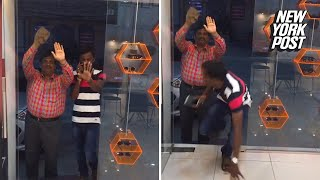 'Fake glass' door prank sends customer stumbling | New York Post