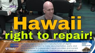 Hawaii hearing on SB2496 Right to Repair