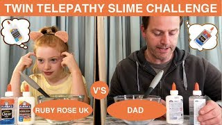 TWIN TELEPATHY SLIME CHALLENGE | DAD V'S DAUGHTER | RUBY ROSE UK
