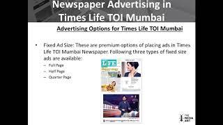 Newspaper Advertising in Times Life TOI Mumbai