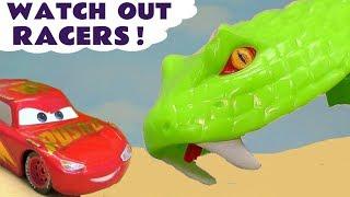 Hot Wheels Snake Dodge with Disney Pixar Cars 3 McQueen vs DC Comics & Marvel Avengers 4