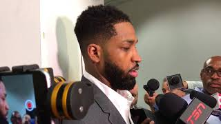 Tristan Thompson offended when asked if he ever feels helpless defending Warriors [Warning: graphic