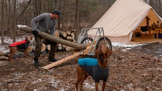 Logs for the Off-Grid Cabin Build Explained / Breakfast on a Woodstove in a Canvas Tent with my Dogs