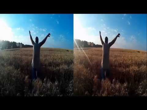 3D-MAN In A Wheat Field ! Beautiful place . 3D VIDEO
