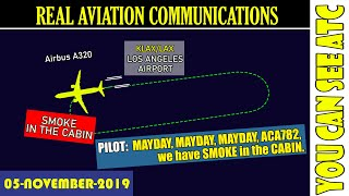 (Real ATC) MAYDAY on board of an Air Canada Airbus A320 after departure from Los Angeles