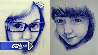 Vẽ chân dung đẹp mê hồn bằng... bút bi | VTC