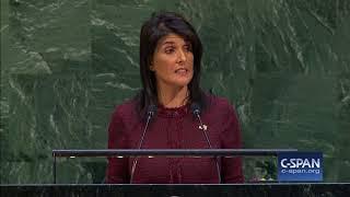Nikki Haley at UN General Assembly on America embassy in Jerusalem (C-SPAN)