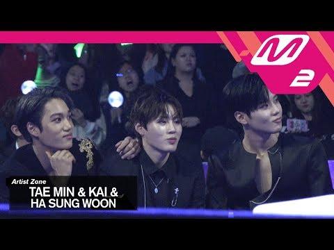 (미공개) [2017MAMA x M2] 태민&카이&하성운 Reaction to 방탄소년단's Performance