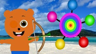 Mega Gummy bear Fun Play with Bow Archery Target Cartoon Animation Nursery Rhymes
