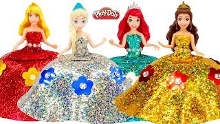 DIY Making Play Doh Sparkle Dresses for Disney Princess Dolls Elsa, Belle, Ariel and Aurora