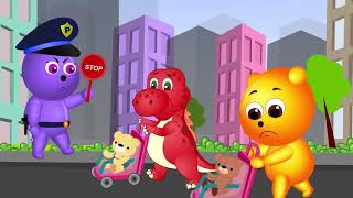 [Gummy] Gummy Bear and Dinos | Learning Colors for Children 💗Color Tires Bounce Seesaw | Nursery Rh