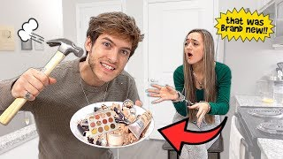 DESTROYING My Girlfriends MAKEUP Then Surprising Her With A SHOPPING SPREE!
